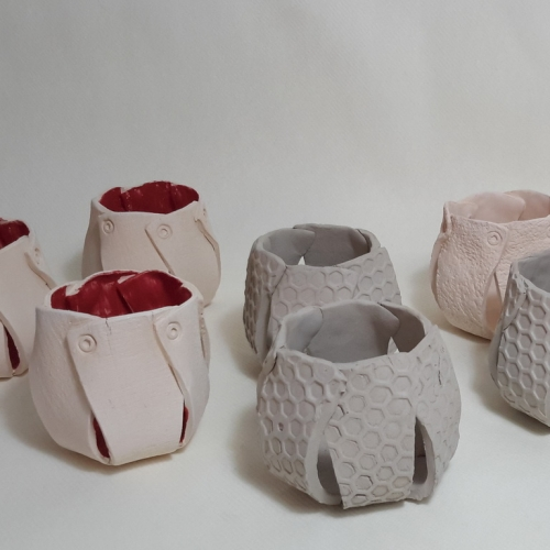 Céramiques argile , bougeoirs photophores émaillage mat transparent 6cm/6.5cm
