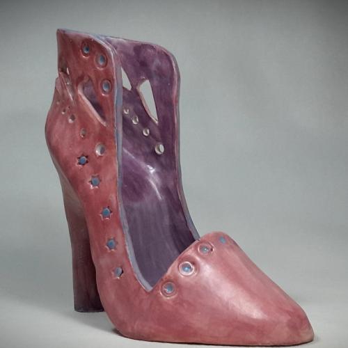 Céramique argile, chaussure porte-téléphone ,intérieur mauve extérieur rose 15cm/10cm