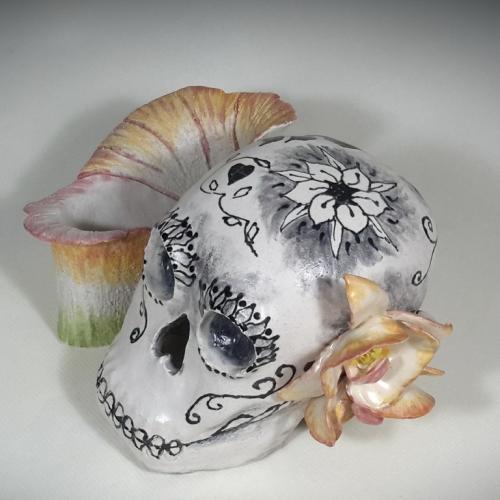 Céramique crâne mexicain support de fleurs 10cm/17cm