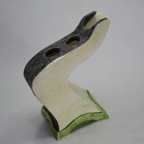 Céramique grès, vase tordu 3 bouches, émaillé en dégradé de vert et en noir 26cm/20cm/12cm