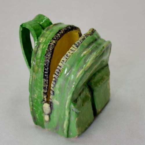 Céramique en argile sac à dos porte-carte vert 10cm/7.5cm