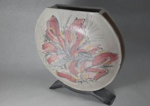 Céramiques, Grès papier 0.2 30% blanc, peintures Duncan, émail transparent mat, diam 22 cm